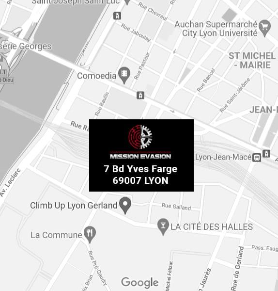 Carte géographique Lyon, ou trouver Mission Évasion, Escape Game à Lyon